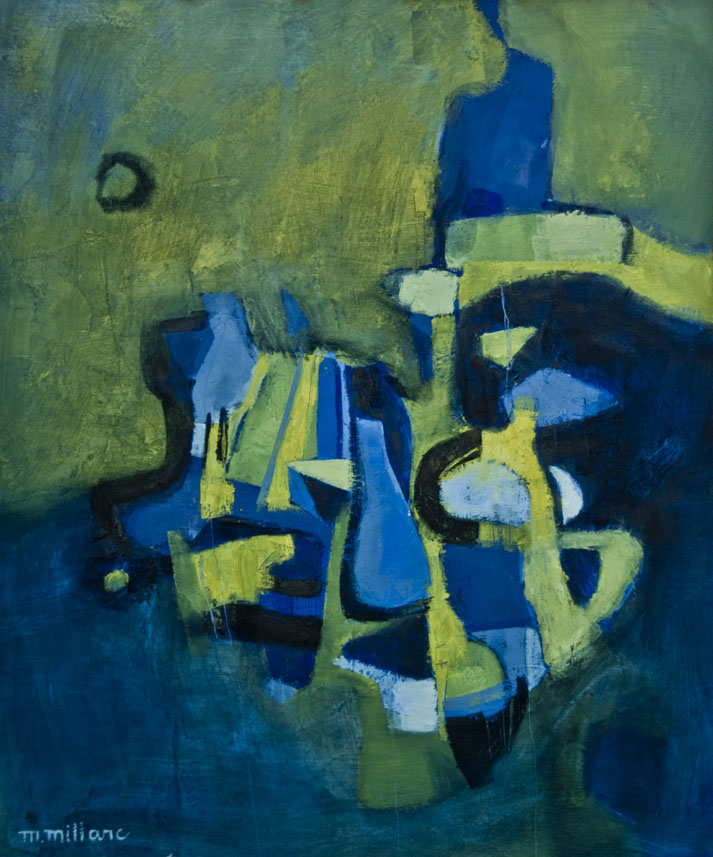 Millarc COMPOSITION IN BLUE AND YELLOW Oil on canvas 20X24 $850