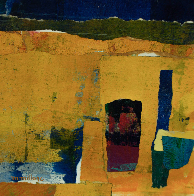 Millarc GOLDEN GROUND mixed media and collage on watercolor paper 7X7 300